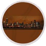 Chicago Skyline Panorama At Dusk Round Beach Towel