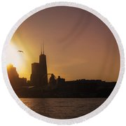 Chicago Skyline V Round Beach Towel