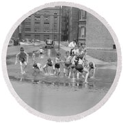 Chicago Summer, 1941 Round Beach Towel