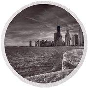 Chicago Sunrise Bw Round Beach Towel