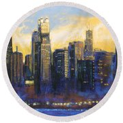 Chicago Sunset Looking South Round Beach Towel