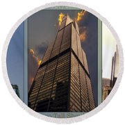 Chicago Tall Shoulders Trump Sears 333 Wacker Triptych 3 Panel 03 Round Beach Towel
