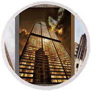 Chicago Tall Shoulders Trump Sears Tribune Triptych 3 Panel 02 Round Beach Towel