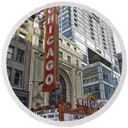 Chicago Theater Facade Northside Round Beach Towel