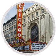 Chicago Theater Facade Southside Round Beach Towel