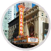 Chicago Theater Marquee Sign On State Street Round Beach Towel