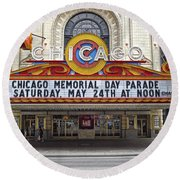 Chicago Theater Signage Round Beach Towel