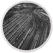 Chicago Transportation 02 Black And White Round Beach Towel
