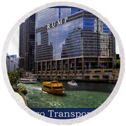 Chicago Transportation Triptych 3 Panel Hdr 01 Round Beach Towel
