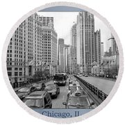 Chicago Triptych 3 Panel Black And White Round Beach Towel