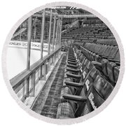 Chicago United Center Before The Gates Open Blackhawk Seat One Bw Hdr Round Beach Towel