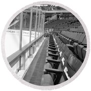 Chicago United Center Before The Gates Open Blackhawk Seat One Bw Round Beach Towel