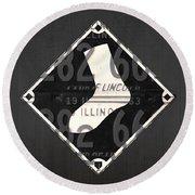 Chicago White Sox Baseball Vintage Logo License Plate Art Round Beach Towel