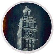 Chicago Wrigley Clock Tower Textured Round Beach Towel