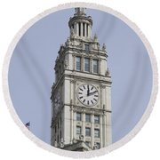 Chicago Wrigley Clock Tower Round Beach Towel