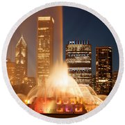 Chicago's Buckingham Fountain Round Beach Towel