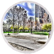 Chicago's Jane Addams Memorial Park From The Series The Imprint Of Man In Nature Round Beach Towel