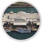 Chicago's Navy Pier Aerial Panoramic Round Beach Towel by Adam Romanowicz