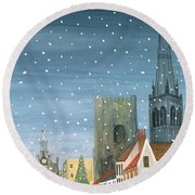 Chichester Cathedral A Snow Scene Round Beach Towel