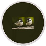 Chickadee Dee Dee Round Beach Towel by Jean Noren