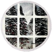 Chickadees And Dogberries Abstraction Round Beach Towel