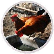 Chicken A La Carte Round Beach Towel