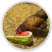 Chicken And Her Watermelon Round Beach Towel