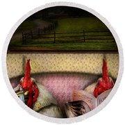 Chicken - Chick Flick Round Beach Towel by Mike Savad