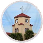 Chicken Church Round Beach Towel