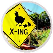 Chicken Crossing Round Beach Towel