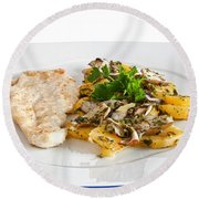 Chicken Escalope With Potatoes And Mushroom Round Beach Towel