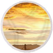 Chicken Farm Sunset 1 Round Beach Towel by James BO  Insogna