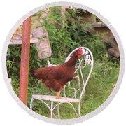 Chicken In The Chair Round Beach Towel