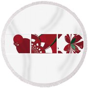 Chicken Little Crossed The Road - Abstract - Triptych Round Beach Towel