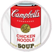 Chicken Noodle Soup Round Beach Towel by Gary Grayson