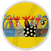 Chicken Posse Round Beach Towel