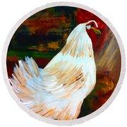 Chicken--yard Bird Impression Round Beach Towel