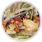 Chickens In The Hedge II Round Beach Towel