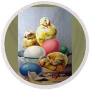 Chicks And Eggs Round Beach Towel