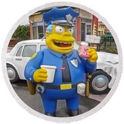 Chief Clancy Wiggum From The Simpsons Round Beach Towel