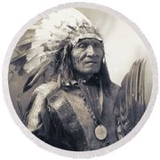 Chief He Dog Of The Sioux Nation  C. 1900 Round Beach Towel