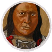 Chief Hollow Horn Bear Round Beach Towel