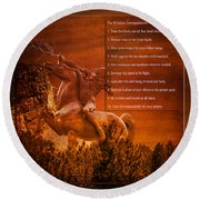 Chief Shabbona And The Ten Indian Commandments Round Beach Towel