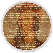 Chief Tecumseh Poem Round Beach Towel