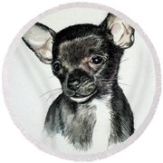 Chihuahua Black 2 Round Beach Towel