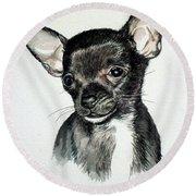 Chihuahua Black 2 Round Beach Towel