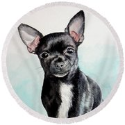 Chihuahua Black Round Beach Towel