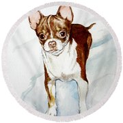 Chihuahua White Chocolate Color. Round Beach Towel