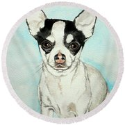 Chihuahua White With Black Spots Round Beach Towel