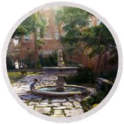 Child And Fountain Round Beach Towel